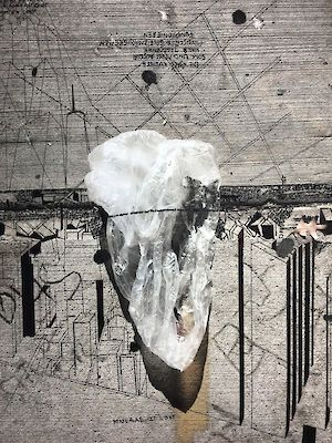 »Plastic bag on concrete while shooting RSVP (Situations)« pigmentprint on Hahnemühle paper, pigment pen drawing . 40 x 30 cm