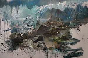 Description: Clemens Tremmel »himalaya 4« 2018 . oil on aluminium . 100 x 150 x 5cm