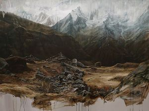 Description: Clemens Tremmel »himalaya« 2018 . oil on aluminium . 150 x 200cm